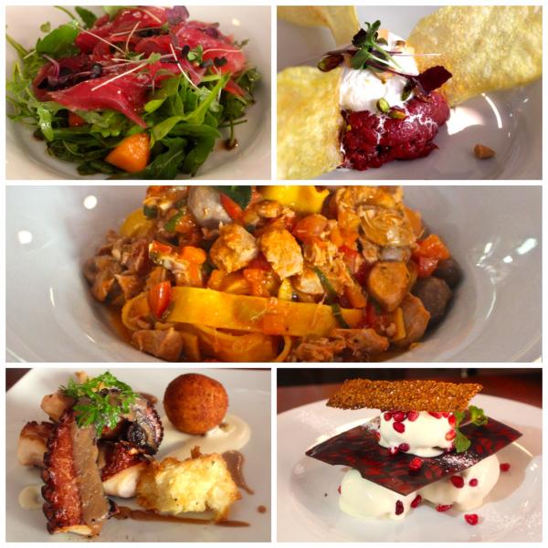 La Finestra: Salada de presunto crú, delicioso steak tartare, macarrão com ragu de coelho, polvo e um dos melhores Profiteroles que já comemos!