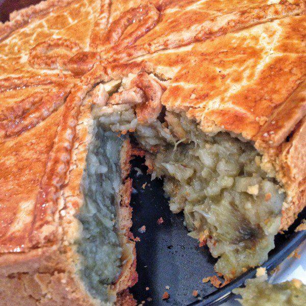 torta de alcachofra aberta